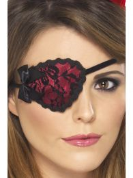Pirate Eyepatch, Red, with Black Lace and Ties