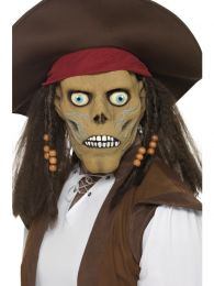 Pirate Zombie Mask, with Hat and Beaded Hair