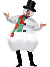 Inflatable Snowman, White, with Hat, Scarf and Self Inflating Fan