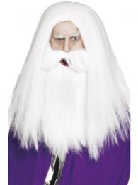 Magician Set, White, with Wig and Beard