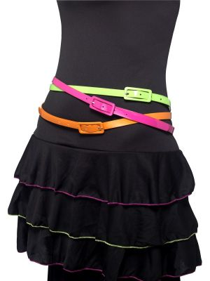 Neon Belts, Multipack of 3, 80's Style