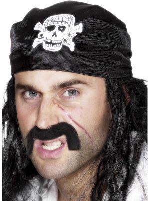 Pirate Bandanna, Black, with Skull and Crossbones