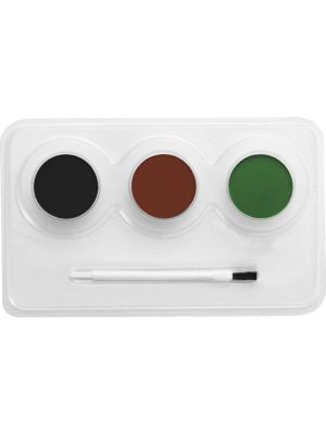 Smiffy's Make Up FX, Aqua, Camouflage Kit, 3 Colours, Brush and Step by Step Guide